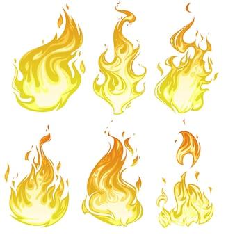 漫画の炎と燃える火のセット