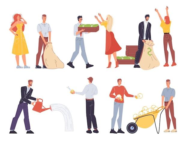 Набор мультяшных плоских бизнес-персонажей