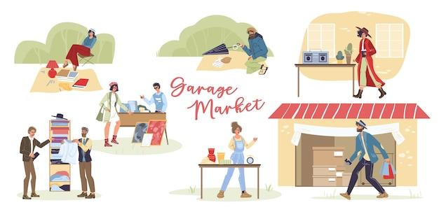 만화 평면 문자 야외 shoppingvarious 포즈, 감정 및 상품, 차고 판매 개념의 집합