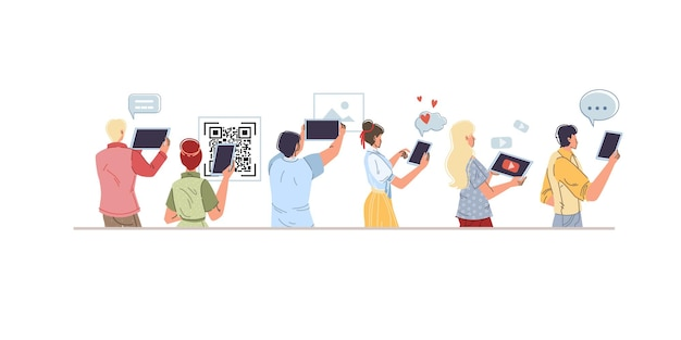 モバイル ガジェット、電話、空の空白の画面を持つタブレットを使用した漫画のフラット キャラクターのセット