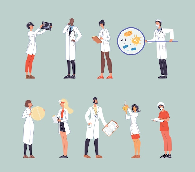 Набор персонажей мультфильма плоский доктор на работе