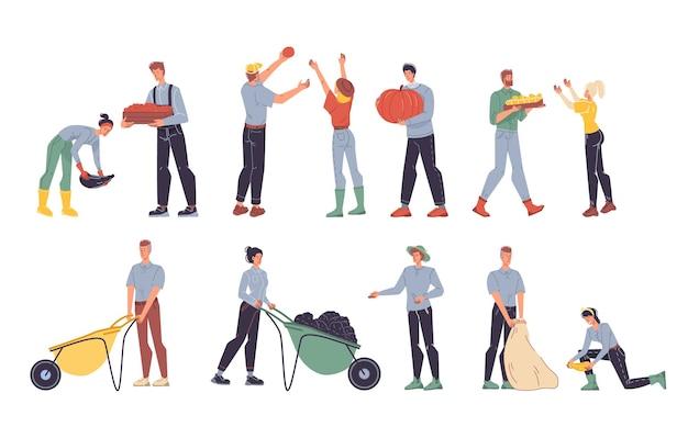 Набор мультяшных плоских фермерских персонажей, собирающих урожай