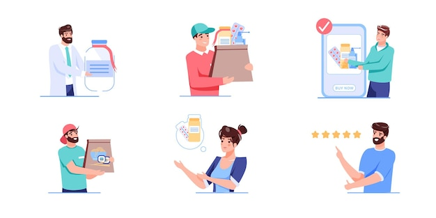 Набор мультяшных плоских иллюстраций медицинских персонажей
