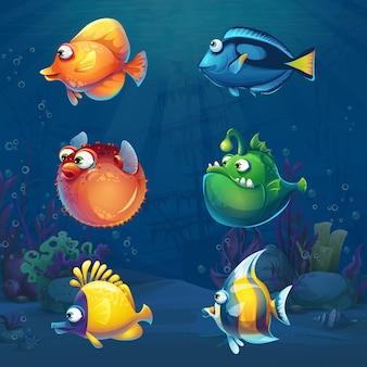 水中世界の漫画面白い魚のセット。さまざまな住民がいる海洋生物の風景。