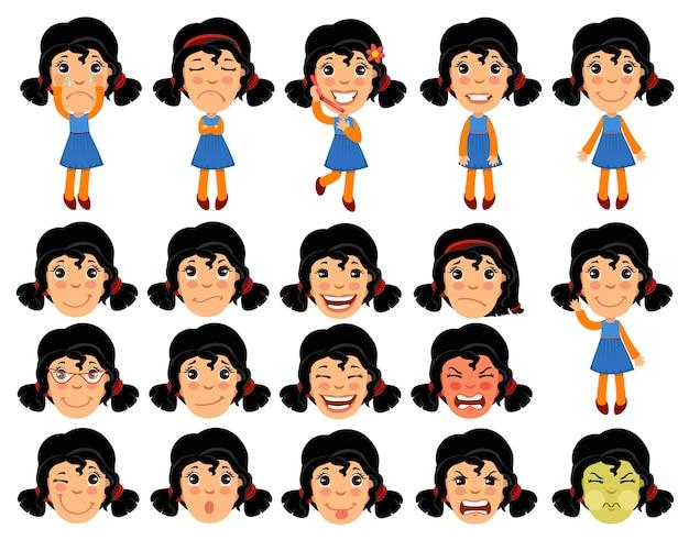 アニメーションの漫画の女の子のキャラクターのセットです。