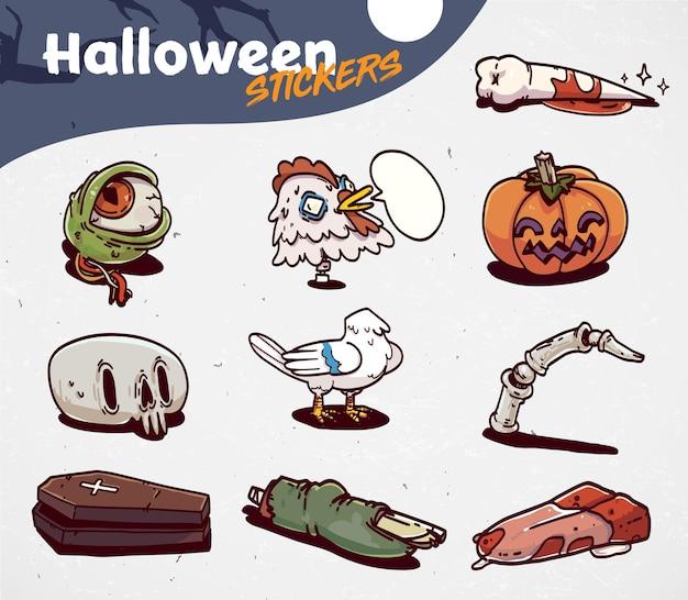 Набор мультфильм хэллоуин жуткие иконки. набор наклеек. векторная иллюстрация.