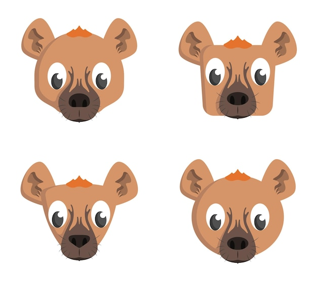 Набор мультяшных гиен. различные формы голов животных.