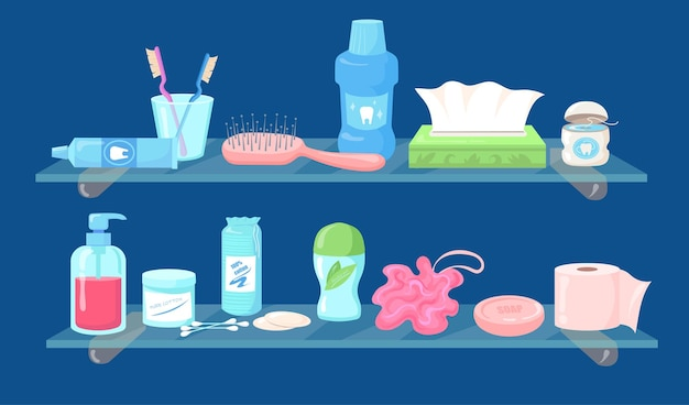 Набор мультяшных продуктов по уходу за гигиеной плоской иллюстрации. сбор туалетных принадлежностей, хозтоваров для личного пользования