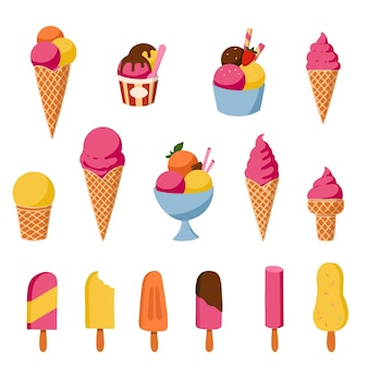 만화 아이스크림 세트입니다. 모든 종류의 맛있는 얼음 과자. 여름 메뉴에 대 한 격리 된 아이콘입니다. 최소한의 우아한 삽화