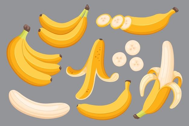 Набор мультяшных иллюстраций желтых бананов. одиночный, банановая кожура и пучки свежих плодов банана.