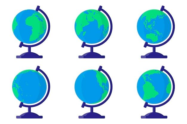 Набор мультяшных иллюстраций с настольным школьным земным шаром с разных сторон на белом фоне