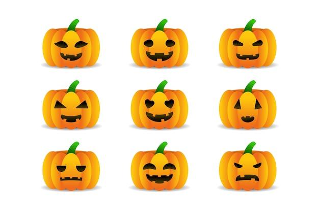 Набор мультяшных изолированных тыкв для украшения и покрытия на белом фоне. концепция счастливого хэллоуина.