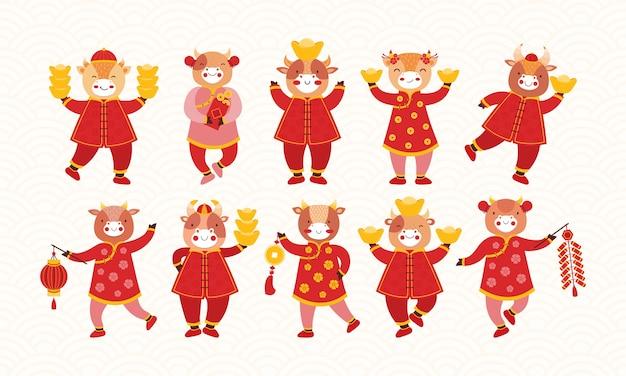 빨간 전통 중국 옷과 행운의 새해 상징으로 만화 아이 황소의 집합입니다. 구정 황소. 축제 폭죽, 종이 손전등, 금괴, 동전, 돈 봉투