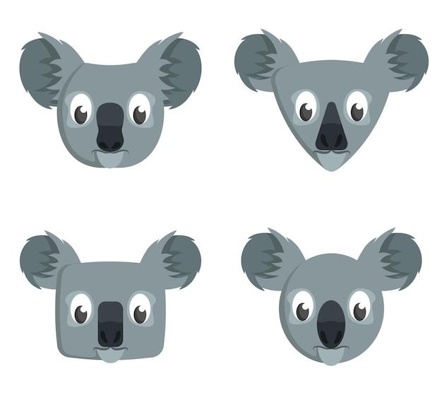 만화 코알라의 집합입니다. 동물 머리의 다른 모양.