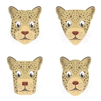 漫画のヒョウのセット。動物の頭のさまざまな形。