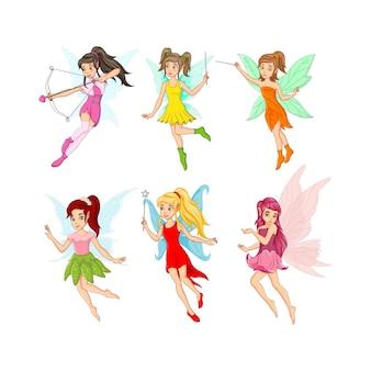 漫画の小さな妖精のキャラクターのセット