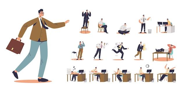 漫画の男のサラリーマンのセットは、さまざまなライフスタイルの状況でブリーフケースを歩いています:職場のビジネスマンはラップトップコンピューターで仕事をし、先延ばしにし、電話で話します。フラットベクトルイラスト