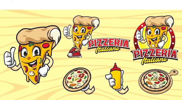 漫画のマスコットのピザのロゴのセット
