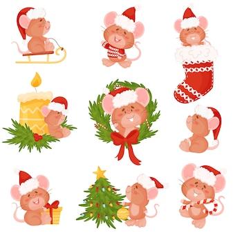 Набор мультяшных мышей в новогодней шапке