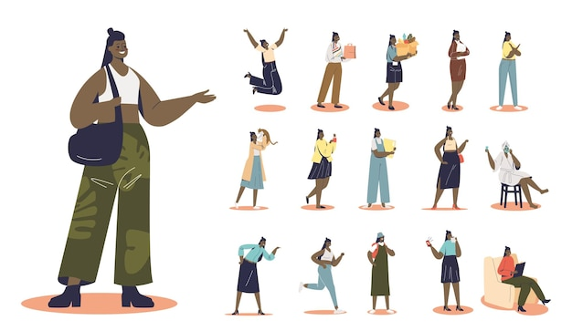 さまざまなライフスタイルの状況とポーズでの漫画の混血アフリカ系アメリカ人のヒップスターの女の子のセット:食料品の買い物、猫と一緒に、自宅で、美容顔とスキンケアマスクを作ります。フラットベクトル図