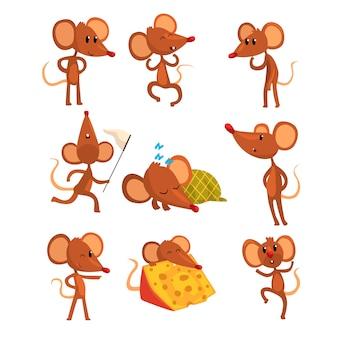 Набор мультипликационный персонаж мыши в различных действиях. бег с сеткой, спит, ест сыр, прыгает, подмигивая. маленький коричневый грызун.