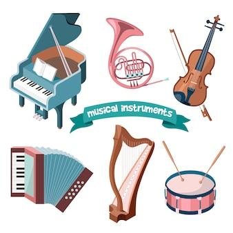 漫画の楽器のセット-グランドピアノ、フレンチホルン、バイオリン、アコーディオン、ハープ、ドラム。