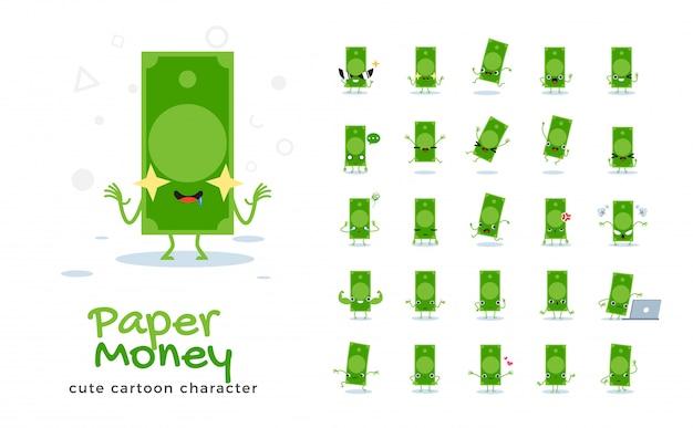 Набор мультфильма денег бумаги. иллюстрация.