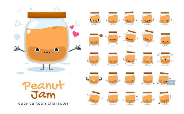 Набор мультфильма арахисового джема. иллюстрация.