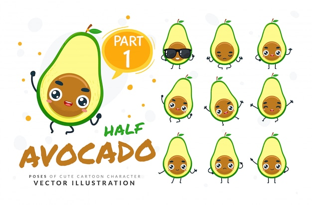 Набор из мультфильма позы авокадо срез.