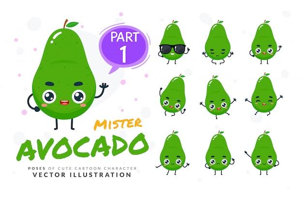 Набор мультфильм позы авокадо.