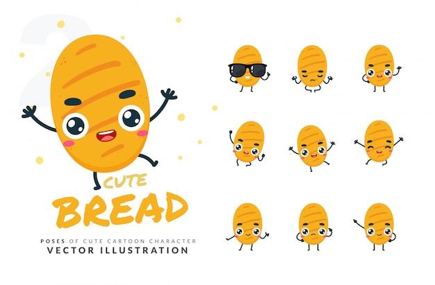 Набор мультфильм позы хлеба. Premium векторы