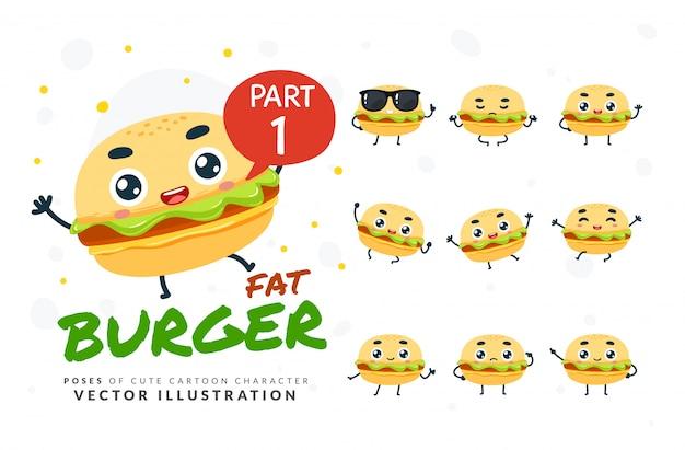 バーガーの漫画ポーズのセットです。