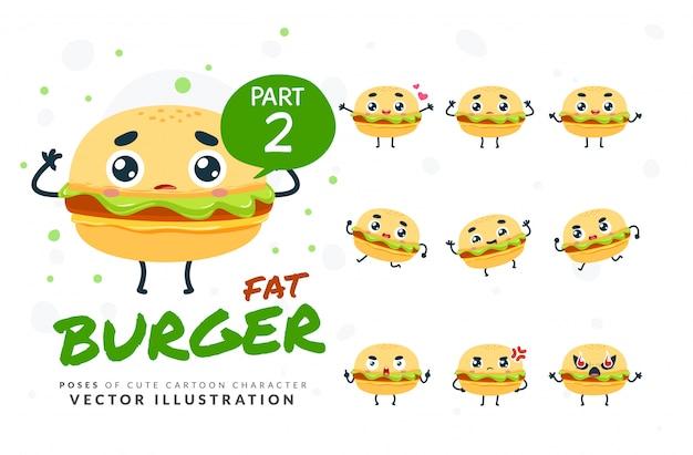 Набор мультфильм позы бургера.