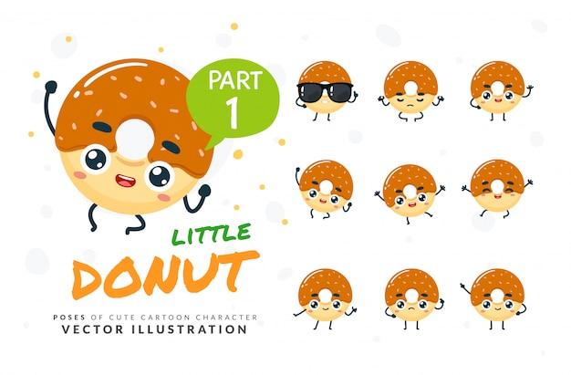 Набор мультфильм позы пончик. Premium векторы