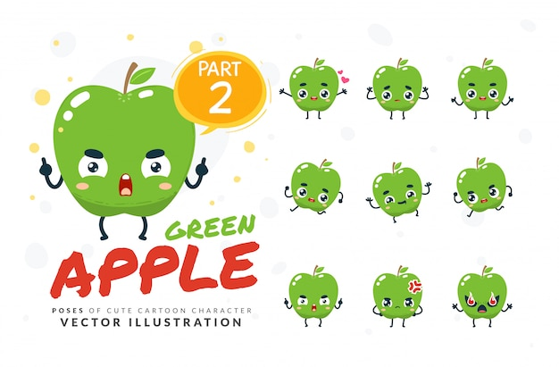 Набор мультфильм позы зеленого яблока.
