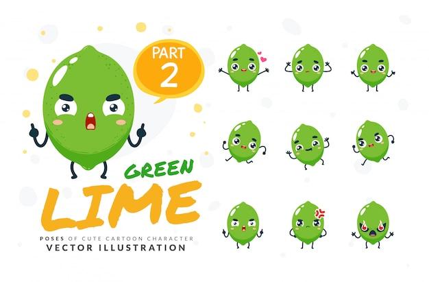 Набор из мультфильма позы зеленой лайм.