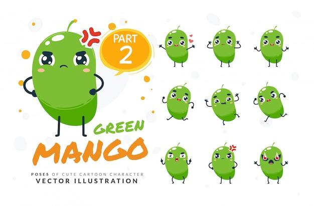Набор мультфильм позы зеленого манго.