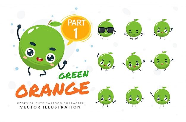 Набор мультфильм позы зеленого апельсина.