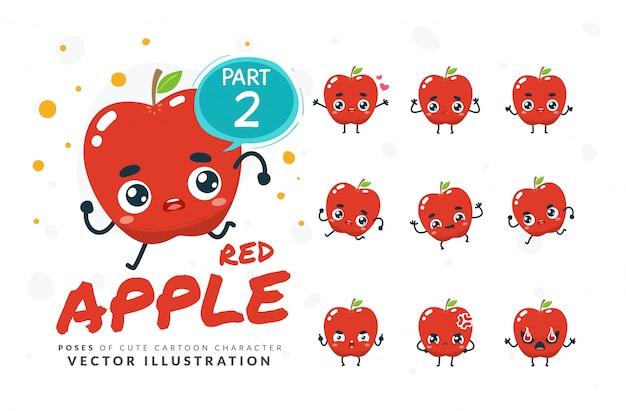 Набор мультфильм позы красного яблока.
