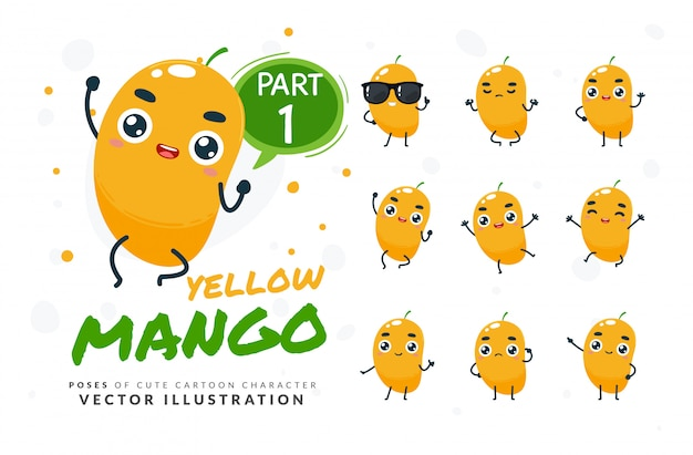 Набор мультфильм позы желтого манго.