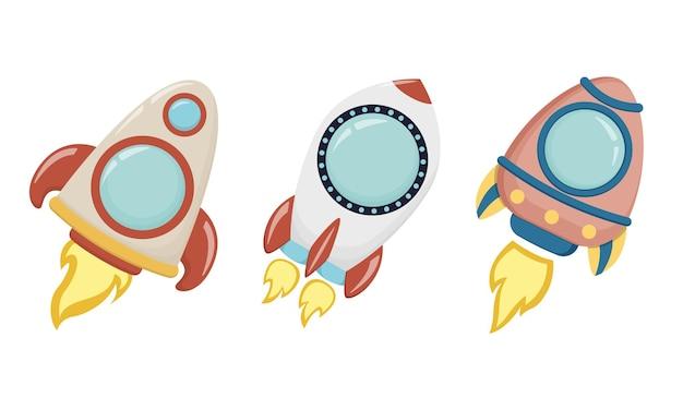 Набор мультяшных ракет. космическая тема, элементы для вашего дизайна. детская векторная иллюстрация eps10.