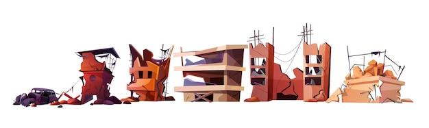 Набор мультяшных разрушенных заброшенных домов и автомобилей. разрушенные городские постройки после землетрясения или военного разрушения. поврежденный город со старым разрушенным жилым домом после взрыва или стихийного бедствия.