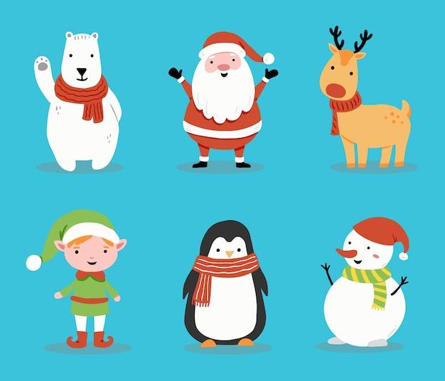 漫画のサンタクロース、鹿、雪だるま、クリスマスバナー、グリーティングカードイラストのペンギンのセットです。幸せなかわいいキャラクターのクリスマスコレクション。