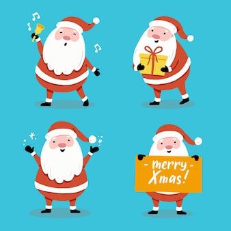 クリスマスバナー、グリーティングカードのイラストのさまざまなポーズで漫画サンタクロースのセット。サンタキャラクターコレクション。