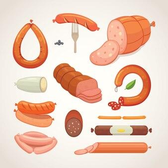 Набор мультяшной колбасы. бекон, салями нарезанный и вареный копченый. изолированные свежий жареный продукт