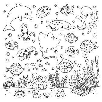 Набор мультяшных морских животных в стиле каракули