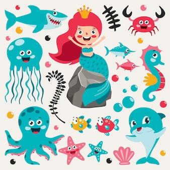 Набор элементов мультфильм море