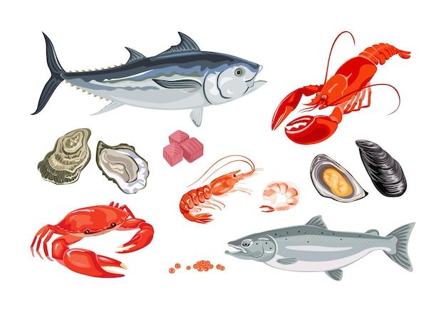 Набор мультяшных морепродуктов и рыбы.