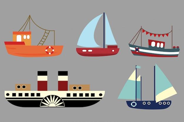 漫画船のセット。古い汽船のコレクション。帆船。おもちゃ。
