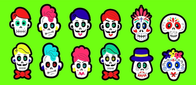 할로윈과 죽은 축하 컨셉 디자인의 날을 위한 다양한 유형의 만화 두개골 세트